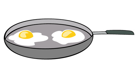 Frying pan with sunny side up eggs. Vector