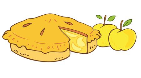Torta di mele della nonna.  Vettoriali