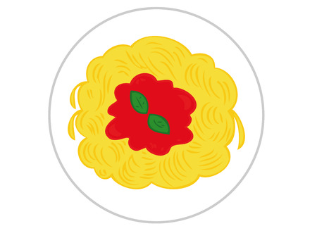 Spaghetti with tomato sauce. Vector