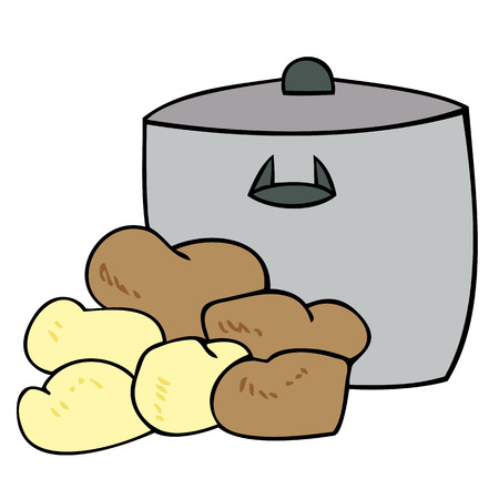 Cooking pot with potatoes. Vector