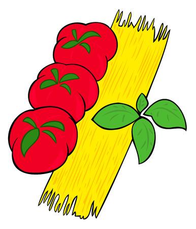 basil herb: Hojas de espaguetis, tomate y albahaca.  Vectores