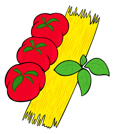 Spaghetti, tomatoes and basil leaves. Vector
