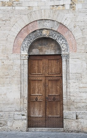 wood panelled: Wooden portal.