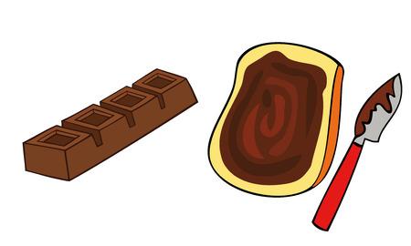 casse-cro�te: Toast tranche de pain avec la propagation de chocolat. Illustration