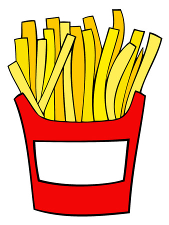 fries: French fries. Illustration