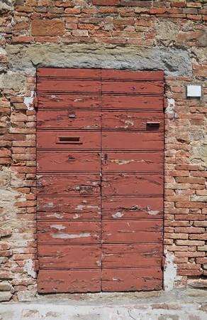 scraped: Wooden door. Stock Photo