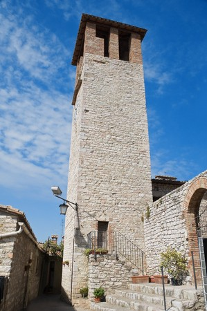 civic: Civic tower. Corciano. Umbria. Stock Photo