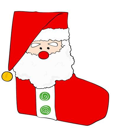 papa noel: Christmas stocking. Illustration