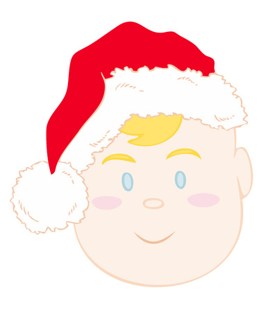 scamp: Baby face with xmas red hat. Illustration
