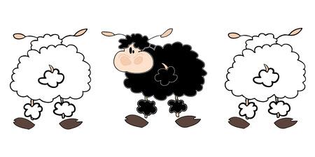 zwart schaap: Witte schapen groep met één zwarte. Stock Illustratie
