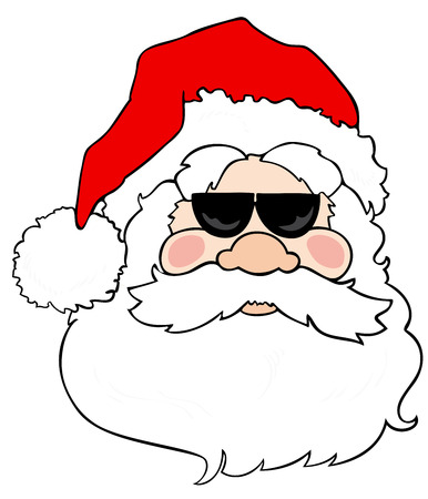 sunglasses reflection: Santa Claus with sunglasses.
