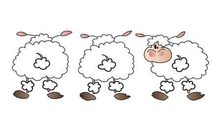 bleating: White sheep group. Illustration