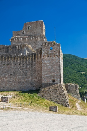 building backgrounds: Albornoz fortress. Assisi. Umbria. Stock Photo