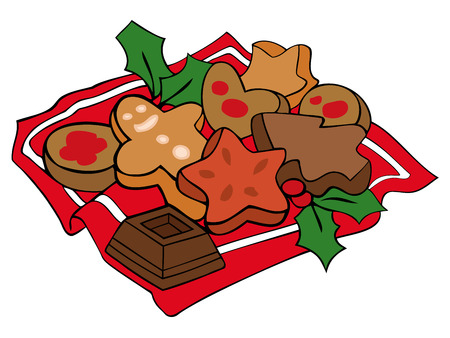 bułka maślana: Christmas pliki cookie. Ilustracja
