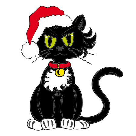 Black Cat with Santa Claus Hat. Vector