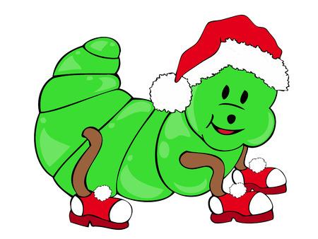 maggot: Caterpillar with Santa Claus Hat.