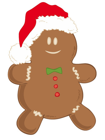 Gingerbread man with Santa Claus Hat. Vector