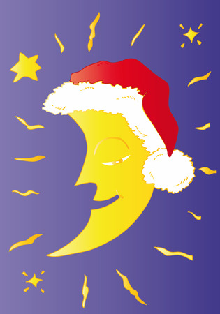 Moon with Santa Claus Hat. Vector