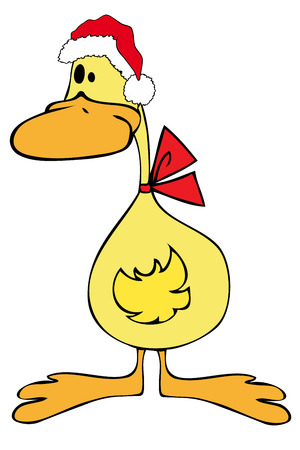 ducky: Duck with Santa Claus Hat.