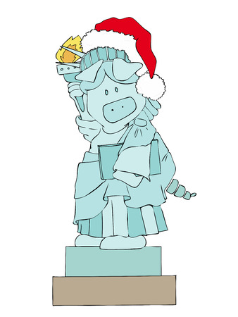 Statue of Liberty Pig with Santa Claus Hat. Vector