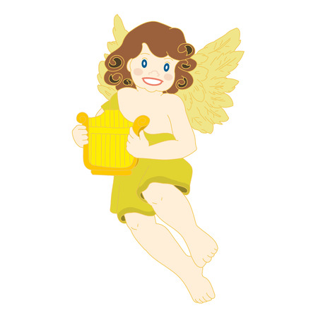 Angel with Harp. Vector