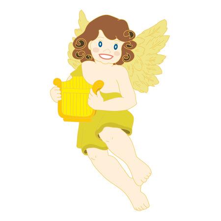 Angel with Harp. Vector