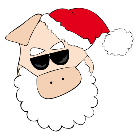 Santa Claus Pig with sunglasses. Stock Vector - 8415813