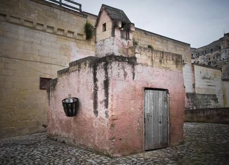 chimney corner: Los Sassi de Matera. Basilicata. Foto de archivo