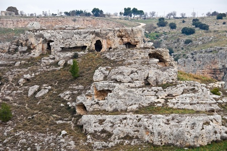 palaeolithic: Palaeolithic caves. Matera. Basilicata. Stock Photo