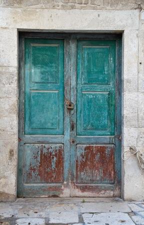 wood panelled: Wooden door. Stock Photo