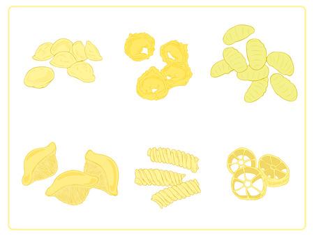 semolina paste: Gruppo di pasta italiana. Vettoriali