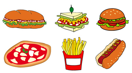 burger and fries: Fast food group. Illustration