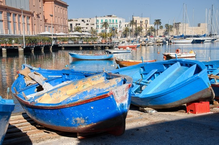 apulia: Boats moored at tourist port of Bari. Apulia.
