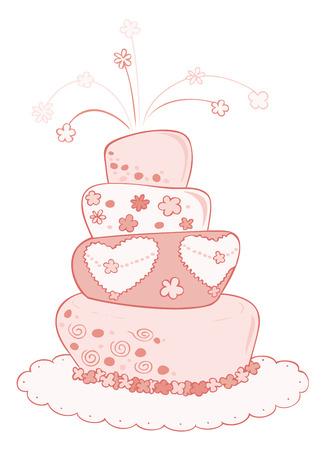 Wedding cake. Stock Vector - 8790421