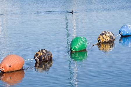 Buoys row floating. photo