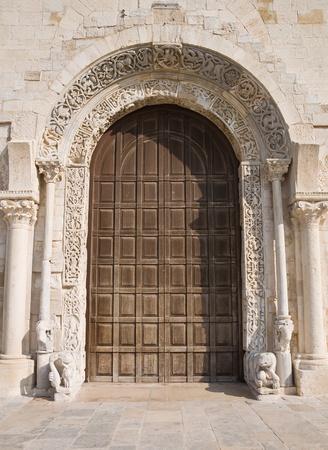 wood panelled: Cathedral portal church. Trani. Apulia. Stock Photo