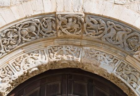 wood panelled: Cathedral portal. Trani. Apulia.  Stock Photo