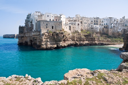 Panoramic view of Polignano a Mare. Apulia.