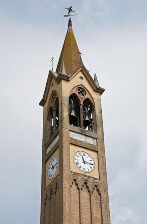 clocktower: St. Maria Assunta church. Gropparello. Emilia-Romagna. Italy. Stock Photo