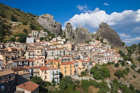 Panoramic view of Castelmezzano. Basilicata. Italy. photo