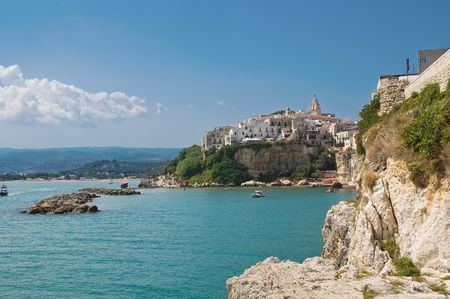 foggia: Panoramic view of Vieste. Puglia. Italy. Stock Photo