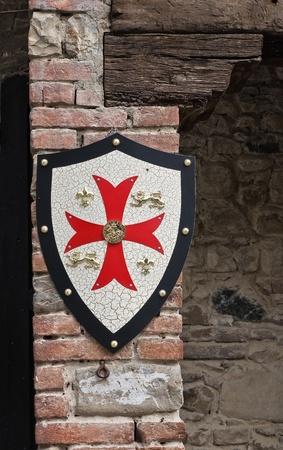 Shield on wall. Grazzano Visconti. Emilia-Romagna. Italy. Archivio Fotografico