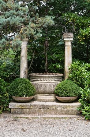 Marble water well. Gropparello. Emilia-Romagna. Italy. Stock Photo