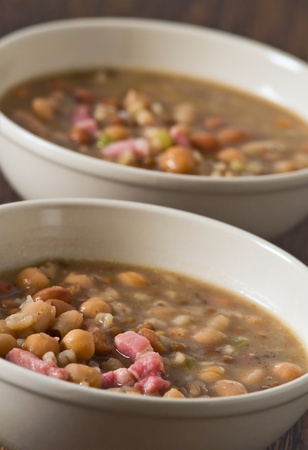 Borlotti bean and spelt soup. photo