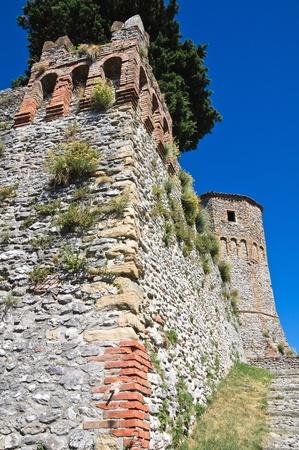 crenellated: Castle of Montebello. Emilia-Romagna. Italy.