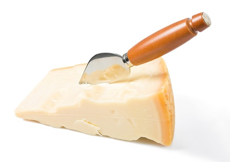 Parmesan cheese piece with knife. Imagens - 12597238