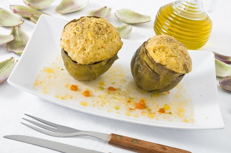 Stuffed artichokes. photo
