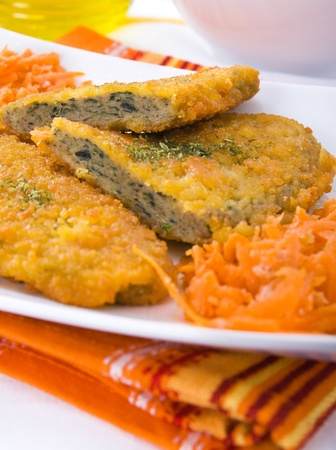 cutlet: Spinach cutlet on white dish