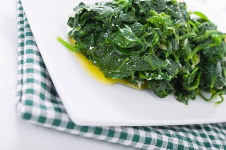 Boiled spinach on white dish  Stock Photo - 12597334