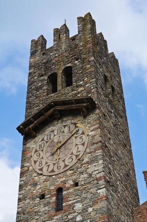 clocktower: Clocktower. Grazzano Visconti. Emilia-Romagna. Italy. Stock Photo
